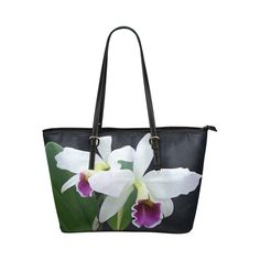 Gorgeous Purple and White Orchids Landscape Leather Tote Bag/Small (Model 1651)