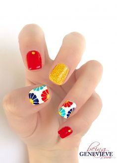 summer nail Hawaiian Paradise Step-by-step tutorial on how to create this cute Hawaiian nail art design. This is the perfect manicure for any tropical getaway . Diy Nails, Cute Nails, Pretty Nails, Pretty Makeup, Simple Makeup, Bright Summer Nails, Spring Nails, Bright Nail Art, Red Nail Art