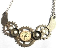 Vintage Watch Dials and Pearls, Silver Steampunk Metal Collage/Assemblage Recycled Necklace