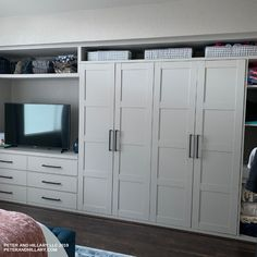 Remodel of master bedroom using Ikea Pax and Ikea Malm dresser.