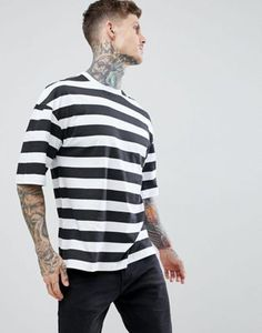 boohooMAN t-shirt in black stripe afd3ccebffe