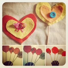 Centro de mesa de pompones y/o corazones
