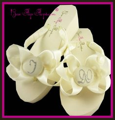 5b6721bc1baab I DO Bridal Flip Flops Satin Bow Ivory White by BridalFlipFlops