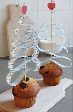 madalena magdalena cupcake árbol tree postre dessert azul blue manzana apple decoración fiesta party desayuno merienda breakfast snack miraquechulo