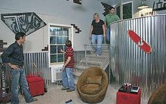 metal roofing as chair railing??!! I love it!! Perfect for a tween room.