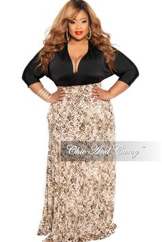 9f8221cfc6b New Plus Size Long Maxi Skirt in Black and Brown Animal Print – Chic And  Curvy