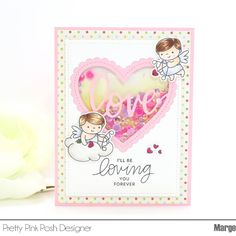 """""""Hello! I'm sharing a Valentine card using the new release products coming Jan 10th at pretty pink posh"""" Cupid Friends, Love Sentiments, Love Shaker die"""