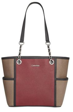 9d8b528b69fe4 Calvin Klein Handbag Saffiano Leather Shopper Chain Tote Shoulder Bag Purse   178  CalvinKlein  TotesShoppers