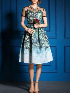 EWHEAT Mesh Paneled Midi Dress