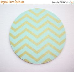 SALE -- Mouse Pad mousepad / Mat - round - Shiny gold metallic mint chevron  - Computer Accessories Geekery Custom Desk Coworker Gifts Offic