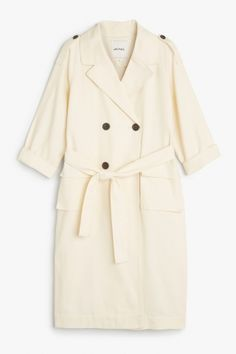 Monki Image 2 of Double-breasted trench coat in Off white