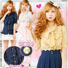 dreamv   Rakuten Global Market: Ruffle placket ♪Ribbon bow tie georgette blouse