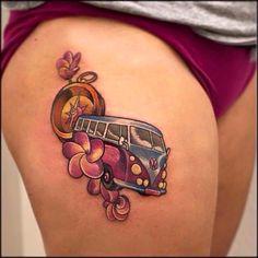 10 Cool Volkswagen Kombi Tattoos For Your Inner Hippie Tie Dye Tattoo, Vw Tattoo, Car Tattoos, Retro Tattoos, Life Tattoos, Body Art Tattoos, Small Tattoos, Beach Tattoos, Vintage Tattoos
