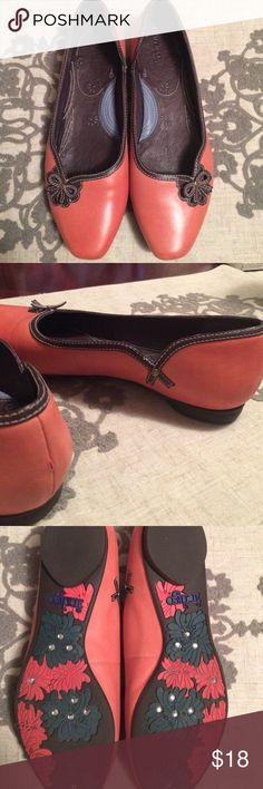Clark shoes Cute and comfy! Coralish with brown trim. Last pic shows small scuff. Indigo by Clarks Claire's Shoes