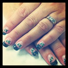Saskatchewan Roughriders Nail Art By: Tania's Nails & Aesthetic Services - Prince George, BC