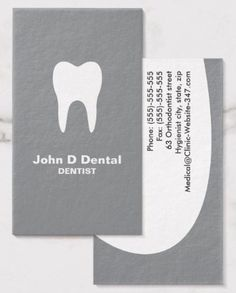 Gray and white dental dentist business cards. A modern and contemporary dental business card featuring a white silhouette of a tooth against a gray background. Customizable text areas for name, specialty or clinic name and other contact information on the back. Sleek and clean dental business card design for dentists, orthodontists, dental hygienists and assistants and anyone working with teeth. Dental business cards