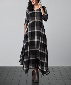Look at this Charcoal Plaid Handkerchief Maxi Dress by Reborn Collection Muslim Fashion, Modest Fashion, Girl Fashion, Fashion Dresses, Check Dress, Dress Skirt, Kurta Designs, Blouse Designs, Indian Designer Wear