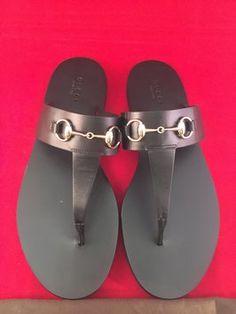 97151cd50a0 Gucci Black Horsebit Marcy Flip Flops 38.5 Sandals Size US 8.5 Regular (M