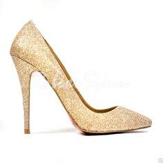 Chaussures Mariage-Or couleur à pointe fine talons hauts