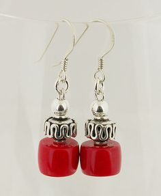 Coral Sterling Silver Earrings 23 by 57north on Etsy, $14.99