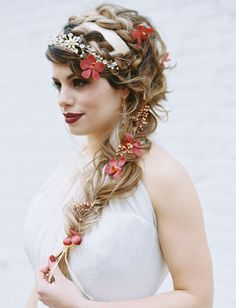 Braided hair with a headband + flowers