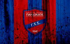 Download wallpapers Panionios FC, 4K, Greece Super League, grunge, stone texture, Panionios logo, emblem, Greek football club, Nea Smirni, Greece