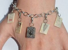 """""""Evil Dead"""" film inspired Necronomicon Charm Bracelet with Pages Weird Art, Happy Colors, Shades Of Black, Jewelry Art, Sculpting, Polymer Clay, Charmed, Necklace Ideas, Hand Painted"""