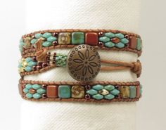 TRIPLE WRAP LEATHER Bracelet-Picasso Superduos-Copper Superduos-Czechmate Tile Beads-Boho Bracelet-Hippie Bracelet-Wrap Bracelet-(TW8)