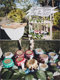 escort cards attached to jam wedding favors #jamweddingfavors #weddingfavorideas #weddingchicks http://www.weddingchicks.com/2014/01/13/eclectic-midwest-wedding/