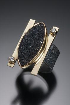 Large Black Druzy Bar Ring - Beth Solomon Jewelry Studio