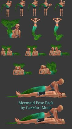 A pose pack So. I'm obsessed with mermaids. I just had to make this pose pack for y'all (and myself)! The pose pack include 16 poses. Some pose variations are expression changes so make sure to. Sims 4 Cc Packs, Sims 4 Mm Cc, Sims 4 Cas, My Sims, Sims 4 Couple Poses, Sims 4 Stories, Sims 4 Family, Toddler Poses, Mermaid Pose