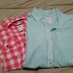 Button down shirts, bundle Pink is Abercrombie size M Blue pinstripe is AE size S both in great shape Abercrombie & Fitch Tops Button Down Shirts
