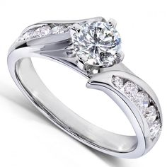 Round-brilliant Diamond Engagement Ring 1 Carat (ctw) In White Gold - Kobelli Big Diamond Wedding Rings, Round Diamond Engagement Rings, Wedding Rings For Women, Designer Engagement Rings, Best Diamond, Brilliant Diamond, White Gold, 1 Carat, Jewelry
