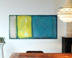 Large Abstract Schilderij  Yellow and dark Blue  door RonaldHunter, $399.00