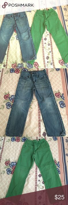 Bundle of 2 GAPKIDS pants Perfect condition, Jean was worn a couple of times, & the green chino pants was worn a few times both were very will taken care of. They have no stains. Bottoms Jeans