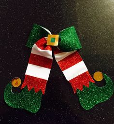 Elf red white green and gold Christmas cheer bow hair bow by EverAfterFairytales