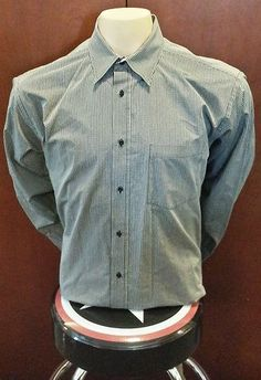 Bugatchi Uomo Mens Button Up Long Sleeve Shirt Sz L Striped Top Mint EUC