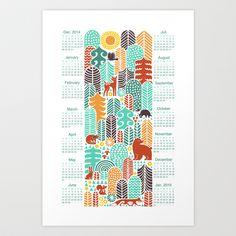 forest friends calendar Art Print by Dennisthebadger - $14.56
