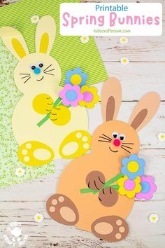 Make adorable Spring Bunny Crafts. Each cute rabbit is holding a bunch of flowers, pile of tasty carrots or a hoard of decorated Easter eggs. This is such a cute spring craft and Easter craft for kids. (Printable B/W and colour template.) #kidscraftroom #kidscrafts #eastercrafts #springcrafts #preschoolcrafts #easterbunny Diy Crafts For Tweens, Spring Crafts For Kids, Craft Projects For Kids, Project Ideas, Bunny Crafts, Flower Crafts, Bunny Templates, Rainy Day Crafts, Preschool Crafts