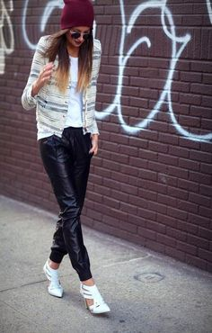 Beanie+Ombre+Leather Pants