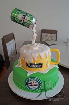 Hikari Bolos Artísticos: Cerveja - in 2020 25th Birthday Cakes, Unique Birthday Cakes, Birthday Cake For Husband, Homemade Birthday Cakes, Adult Birthday Cakes, Husband Cake, Birthday Ideas, Birthday Beer, Happy Birthday