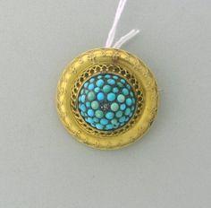 Victorian Mourning Turquoise Diamond Pin Pendant  http://hamptonestateauction.com/