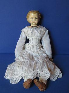 Original Puppe Berta Thüringen um 1870 - Schulterkopf handbemalt auf Lederkörper
