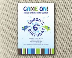 172 best party invitation wording images on pinterest invitation water gun fun birthday party invitation or digital file filmwisefo