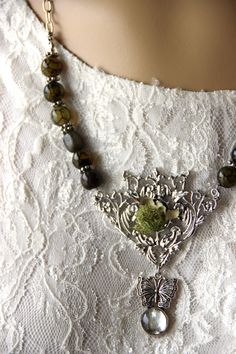 Woodland Fairy A Mixed Media Necklace by purpleartlove on Etsy, $20.00