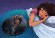 CAT illustration print, GIRL Nursery decor, BUNNY art. Children gift, Baby Girl shower, Toddler gift. Kids room. Beddy-bye, cute. Black cat