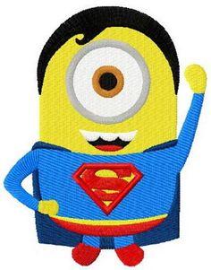 Minion superman machine embroidery design