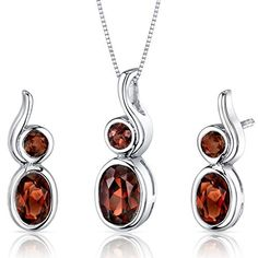 Bezel Set 2.75 carats Oval Shape Sterling Silver with Rhodium Nickel Finish Garnet Pendant Earrings Set available at joyfulcrown.com
