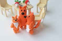 Tiny Fox family Crochet fox Miniature Animal by BarbariskaK