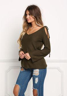 Olive Cold Shoulder Sweater Top - New
